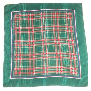 Plaid Holiday Silk Square Scarf Made In Italy